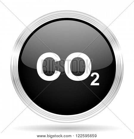 carbon dioxide black metallic modern web design glossy circle icon