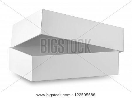 White ajar box isolated on white background