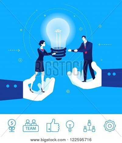 Flat design vector concept illustration. Teamwork. businesswoman gives the idea to his boss. Vector clipart. Icons set.