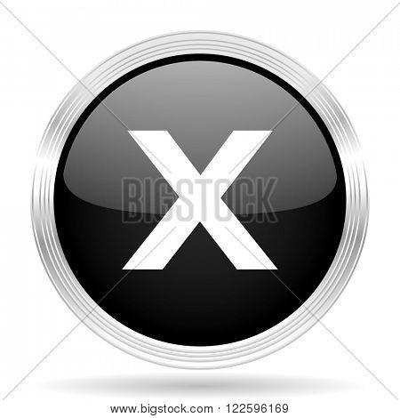 cancel black metallic modern web design glossy circle icon