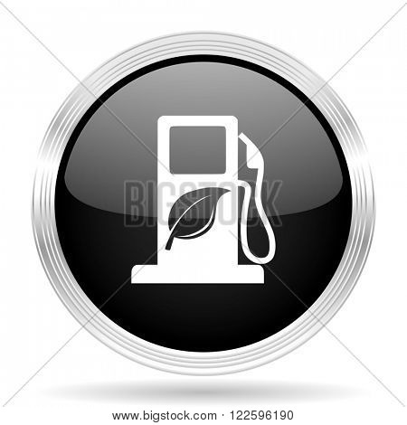 biofuel black metallic modern web design glossy circle icon