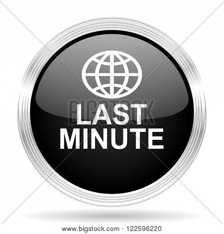 last minute black metallic modern web design glossy circle icon