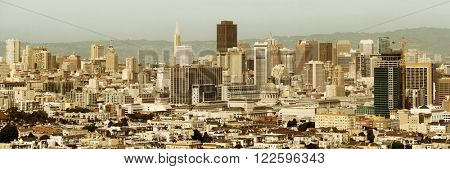 San Francisco downtown architecture viewed from mountain top panorama.