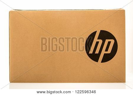 Winneconne WI - 3 Dec 2015: Package of a Hewlett Packard computer printer or server.