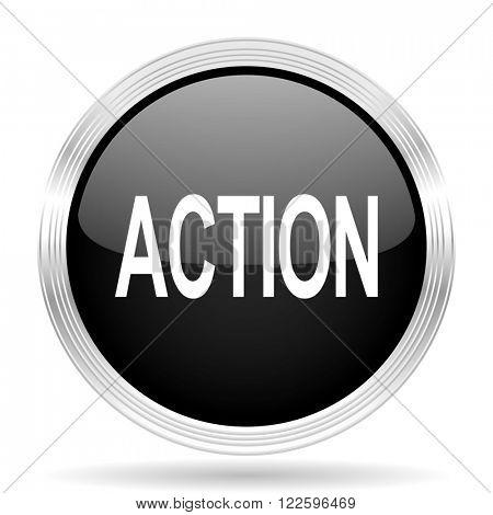 action black metallic modern web design glossy circle icon