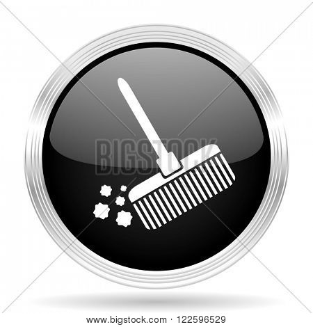 broom black metallic modern web design glossy circle icon