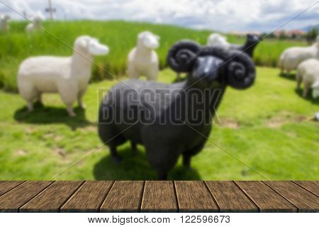 Black And White Sheep Statue