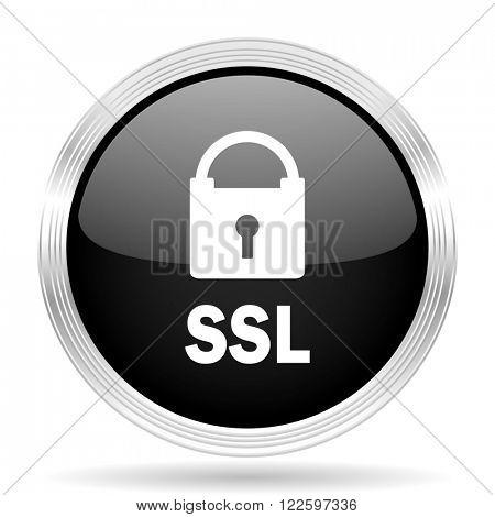 ssl black metallic modern web design glossy circle icon