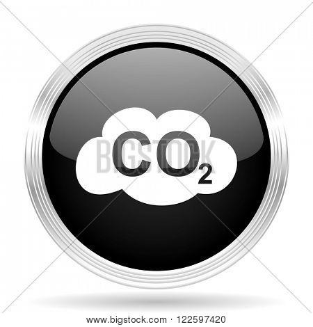carbon dioxide black metallic modern web design glossy circle icon