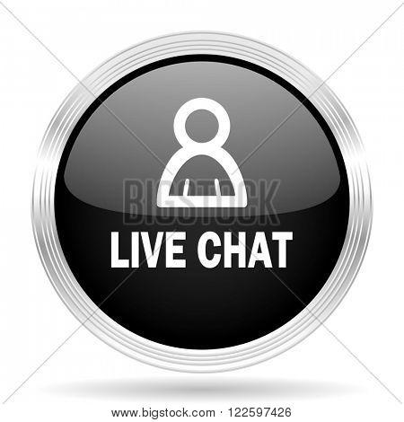 live chat black metallic modern web design glossy circle icon