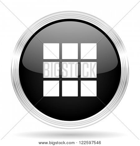 thumbnails grid black metallic modern web design glossy circle icon