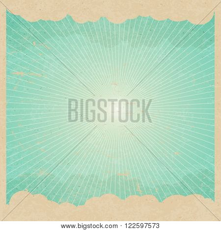 Vintage Background with Clouds and Rays. Rays, leaves, clouds, sky. Vintage Poster Template. On old paper texture. Grunge layers easily edited.