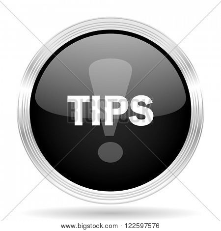 tips black metallic modern web design glossy circle icon