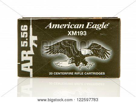 Winneconne WI - 10 Jan 2016: Box of American Eagle 5.56 x 45mm Nato rounds.