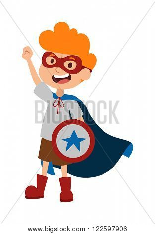 Super hero little boy in glasses, coat, with shield and cute super hero brave boy vector. Illustration of superhero boy cartoon character vector. Young school kid super hero costume, star shield and