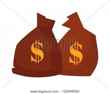 Business money payment bag symbol and two rich money cartoon flat canvas bag vector. Money bag or sack cartoon style icon with dollar vector illustration. Western money icons