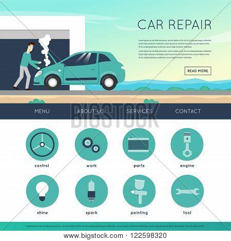 Car service. Auto mechanic repair of machines and equipment. Car diagnostics. Engine repair, painting, tire, suspension repairs. Website template header. Banner. Vector illustration and flat icons.