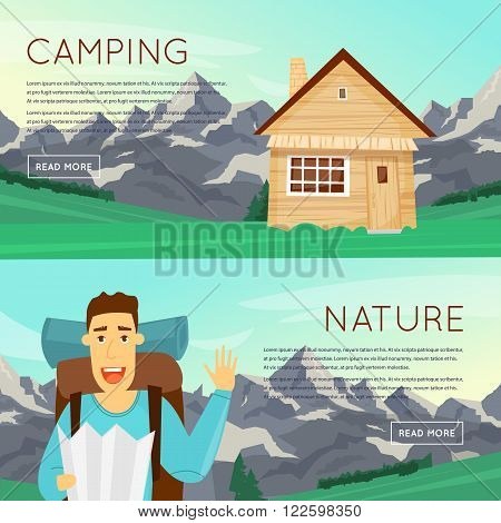 Outdoor activities. Summer adventure. Mountains background, hiking equipment, camping, adventures in nature, sports. Banners. Vector illustration and flat icons.