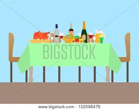 Vector illustration of a festive table. Festive dinner.