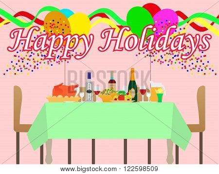 Vector illustration of a festive table and a holiday. The atmosphere of fun and celebration.