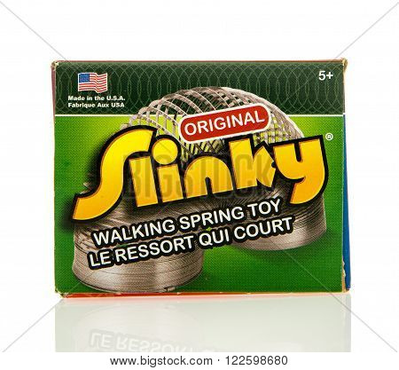Winneconne WI - 5 Feb 2016: Box of the original Slinky walking spring toy
