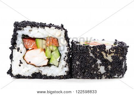 Japan square black tobiko rolls with shrimp salmon and cucumber isolated closeup