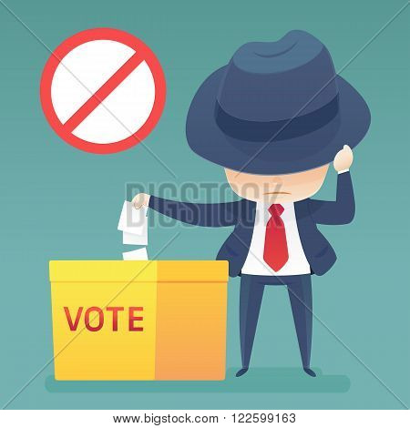 Man putting voting paper in the ballot box