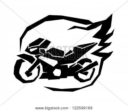 Sport black bike silhouette and sport vencle fast bike race road silhouette vector. Extreme transport bike vector. Black sport bike silhouette transport power vector illustration.