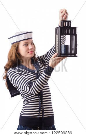 Young woman sailor isolated on white