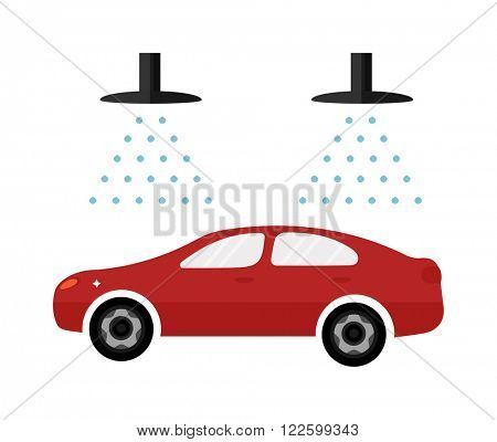 Carwash automatic service business symbol and dirty car wash garage service. Automatic car wash facilities innovative self service car foaming brush unit equipment. Car flat icon vector and water