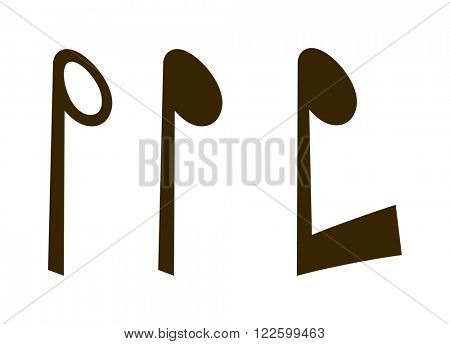 Black music notes vector set and silhouette of music notes graphic icons. Vector black icons music note melody symbols vector illustration.