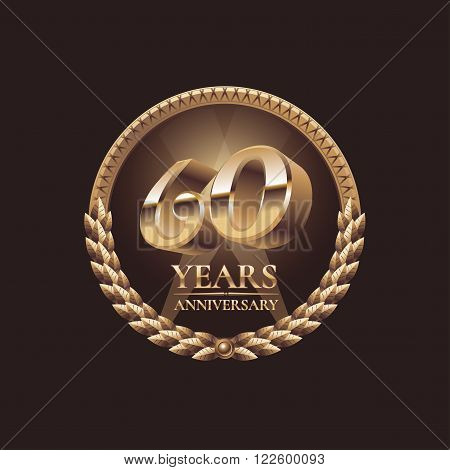 60 years anniversary vector icon. 60th celebration design. Golden jubilee symbol