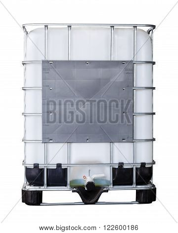 Isolated bulk plastic oil or liquid containers and metallic cage with clipping path