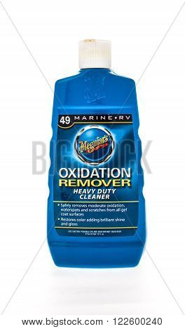Winneconne, WI - 17 May 2015: Bottle of Mequiar's oxidation remover for use on exterior of boats.