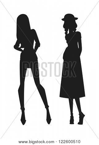 Concept of modern fashion girls silhouette and beautiful style silhouette of girls. Girls silhouette sexy girl in various poses isolated on white background vector illustration.