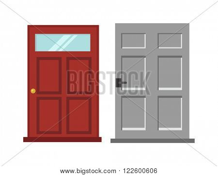 Wood interior door isolated entry and doorway house exit vertical style isolated. Wood two red and gray elegant entrance door architecture elements. Home doors symbols for design