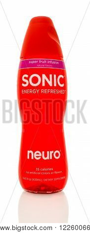Winneconne WI - 14 Jan 2016: Bottle of Neuro sonic energy refreshed in super fruit infusion flavor.