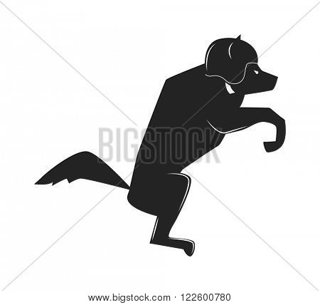 Sitting black dog moto club label badge vector black icon and moto club logo illustration. Moto club label logo with dog bike pose. Bike club badge design element