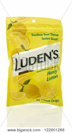 Winneconne WI - 10 Feb 2016: Bag of Luden's cough drops used to treat sore throats