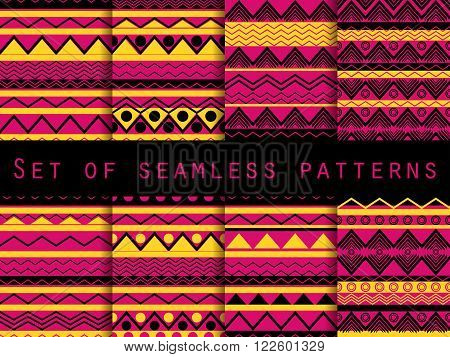 Set The Texture Seamless In Ethnic Style. Tribal Seamless Texture. Seamless Pattern In Hippie Style.