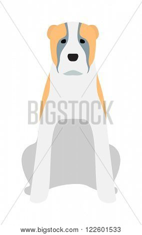 Labrador dog pet and icon labrador white dog vector. Black Labrador retriever dog domestic animal vector illustration.