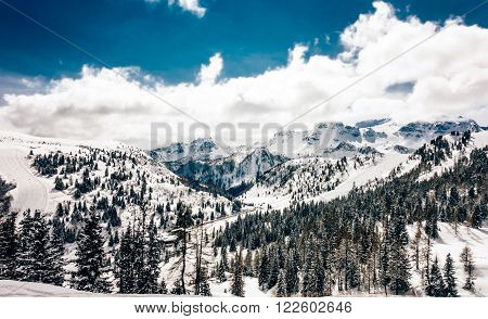winter dolomites powder snow skiing south tyrol mountains
