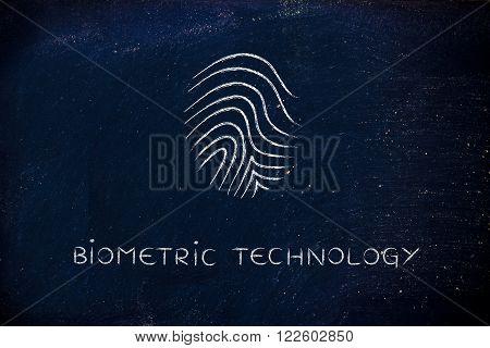 biometric technology with minimalist chalk icon design