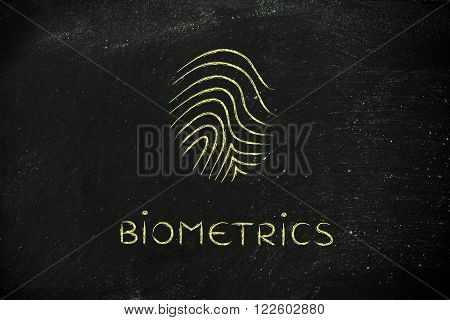 biometrics text with minimalist chalk icon design