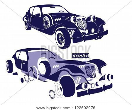 Front and side view retro car and view of details parts of the machine - wheels, rims, the hood of the car. Vector illustration for design poster, print, banner in auto service. Scheme details auto