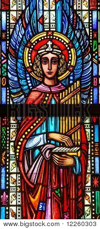 Stained glass window of angel