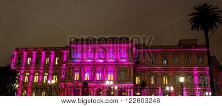 Casa Rosada (Pink House) Presidential Palace of Argentina at night