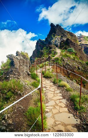 hiking trail from mountain Pico do Arieiro to Pico Ruivo Madeira Portugal