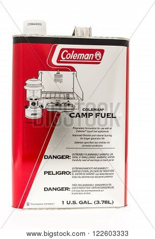 Winneconne WI - 20 April 2015: Container of Coleman camp fuel.