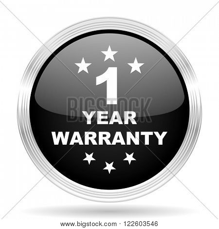 warranty guarantee 1 year black metallic modern web design glossy circle icon